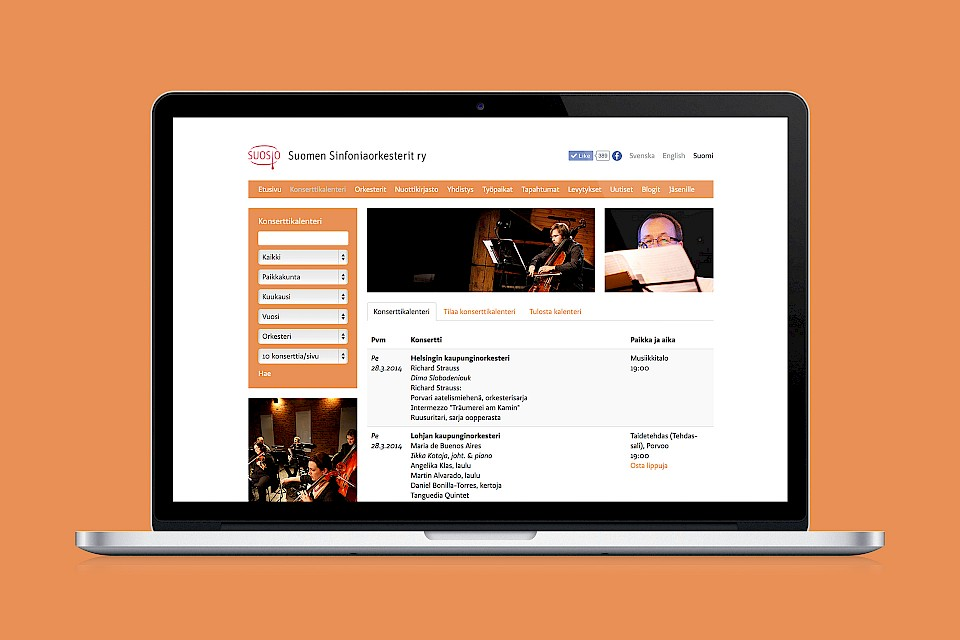 The Association of Finnish Symphony Orchestras: Website / Concert calendar