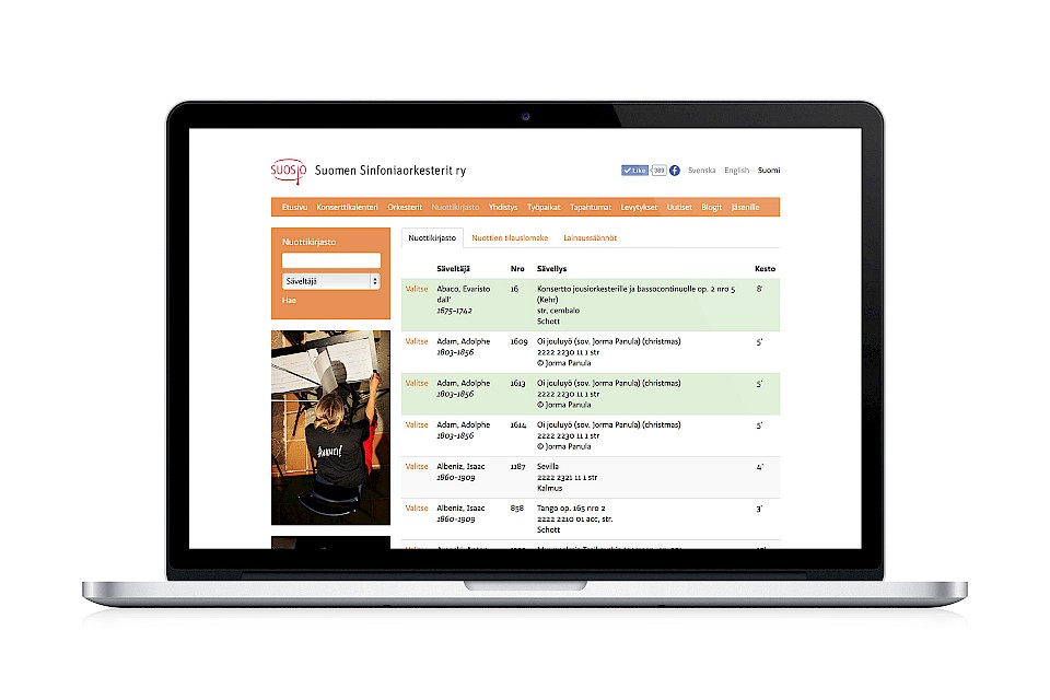 The Association of Finnish Symphony Orchestras: Website / Library