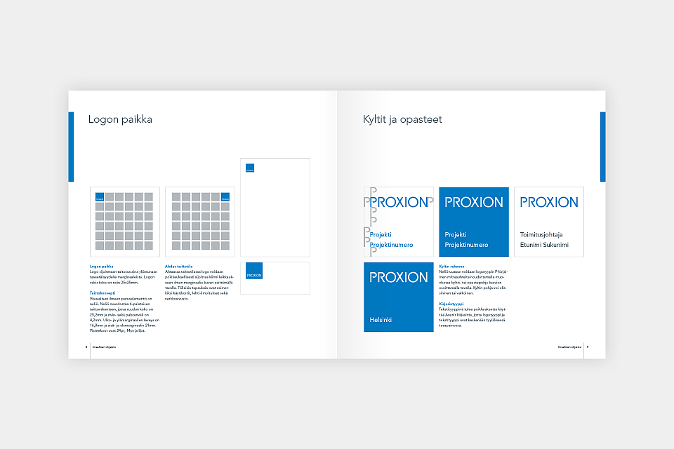 Proxion: Identity guidelines, layout